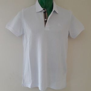 BURBERRY LONDON MEN`S POLO WHITE MEDIUM NWT